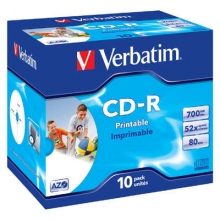 CD-R 80 Verbatim 52x, jewel box, printable (balení 10 ks)